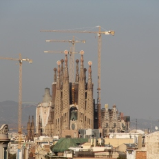 View of La Sagrada Família from the rooftop of Casa Milà