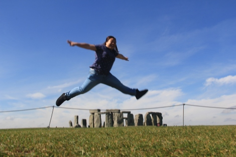 I was trying to look like I was jumping over The Stonehenge. Wish Jolene managed to capture a clear shot but I guess this will have to do.